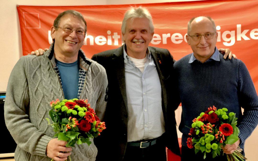 Der Stadtverband bedankte dich bei den nicht wieder kandidierenden Ratsmitgliedern Klaus Omlor und Werner Holzmann für ihren Einsatz