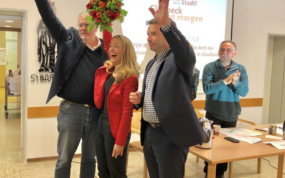 Der Kommunalwahlkampf ist eröffnet:  Parteitag und Wahlkreisdelegiertenkonferenz nominierten und wählten heute Bettina Weist als SPD-Bürgermeisterkandidatin (einstimmig!), 22 Direktkandidaten*innen für den Gladbecker Stadtrat und 4 Kandidaten für den Kreistag.