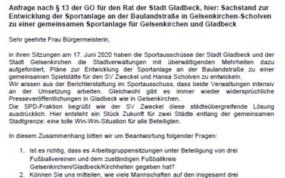 Anfrage nach §13 GO: Sachstand Sportanlage Baulandstraße
